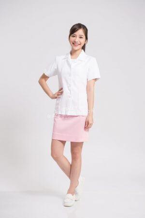 【預購7天~10天出貨】女國民領醫師服 短袖短袍 – 薄細斜布