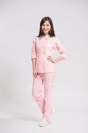 【7天~10天出貨】N39 粉菊衣褲 (領配白) 旁拉款 – 七分平袖