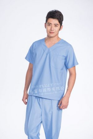 男刷手衣褲 – 淺藍色 ( 無肩釦 ) 短袖