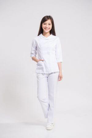 【7天~10天出貨】N22 白斜紋衣褲 旁拉款 – 七分平袖