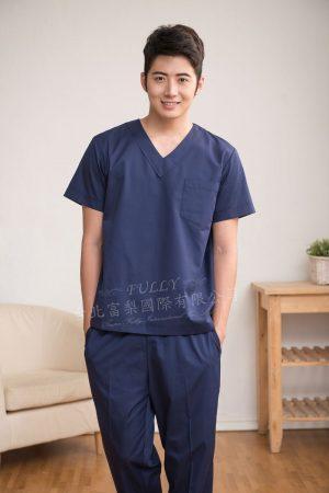 男刷手衣褲 – 藏青色 ( 無肩釦 ) 短袖