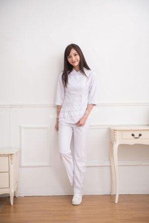 【7天~10天出貨】N39 白斜紋衣褲 旁拉款 – 七分平袖
