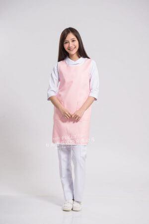 圍裙 – 粉菊滾白邊