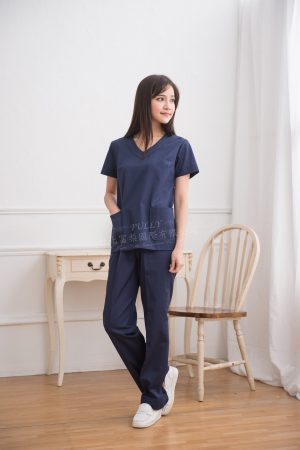 【預購10天~15天出貨】女V領刷手衣褲 – 藏青色 (左肩雙釦) 短袖