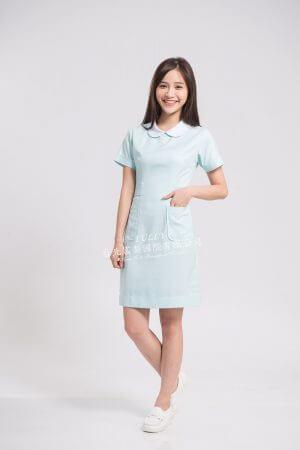 N14 粉藍 (白領) 後拉款 – 短袖