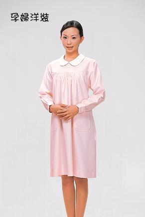孕婦裝A01 短袖 粉菊 (白領) 後拉款